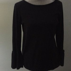 Women's black blouse with bell sleeves